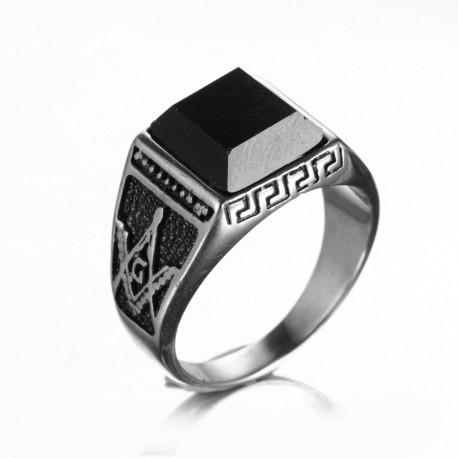 Inel Masonic Argintiu Piatra Onix