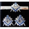 Set Masonic 2 Bijuterii Ac Cravata + Butoni Silver