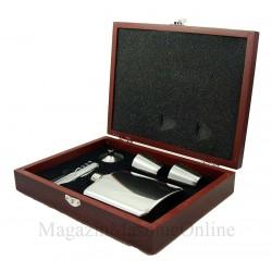 Set cadou Caseta lemn plosca si accesorii cu simboluri masonice