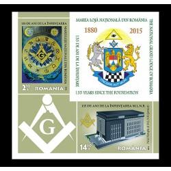 Bloc Timbre 135 DE ANI DE LA INFIINTAREA MARII LOJI NATIONALE DIN ROMANIA