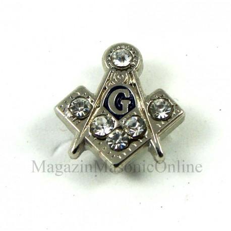 Pin Masonic - Echer si compas cu litera G 5*