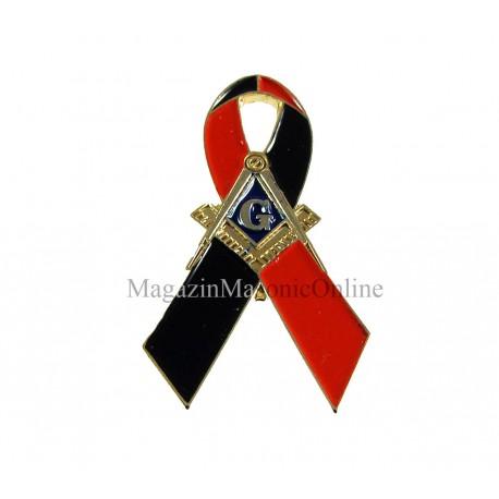 Pin Masonic Charity - Funda Negru+Rosu