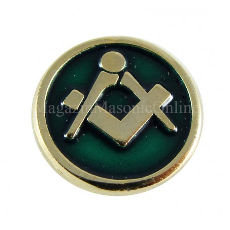 Pin masonic Echer si Compas fundal verde