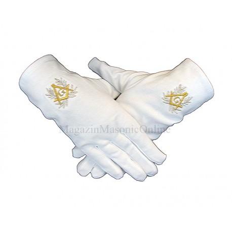 Manusi masonice albe cu simbol auriu si lauri