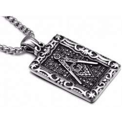 Pandantiv masonic Echer si Compas decorat cu marcasite