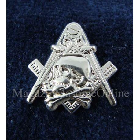 Pin Masonic Skull and Bones Argintiu PIN146