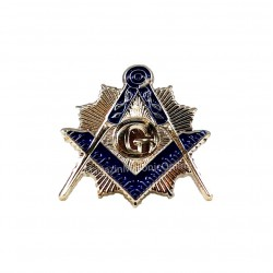 Pin mason Echer si Compas cu litera G SILVER