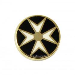 Pin Rotund Crucea de Malta Negru