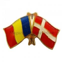 Insigna Drapel Romaniei + Danemarca