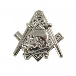 Pin Masonic Skull and Bones Argintiu PIN045
