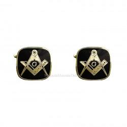 Butoni Camsa cu Simboluri Masonice auriu + negru