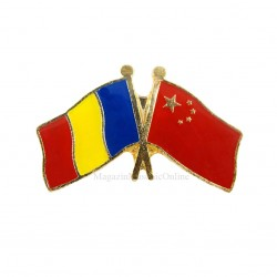 Insigna Drapel Romania - China