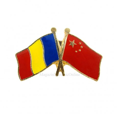 Insigna Drapel Romania - China