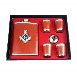 Set Cadou Plosca si Pahare cu Simboluri Masonice MM621