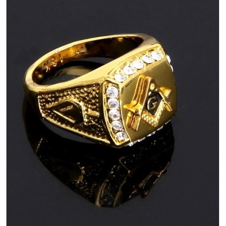 Inel Masonic Auriu cu 20 de Pietre