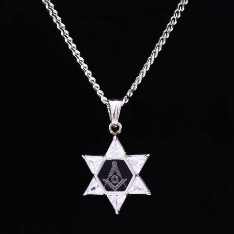 Pandantiv Cu Simboluri Masonice Steaua lui David Auriu / Argintiu MM630