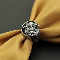 Inel Masonic Otel Inoxidabil Argintiu Echer si Compas MM631