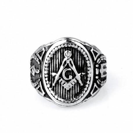 Inel Masonic Argintiu din Otel Inoxidabil Echer si Compas MM632