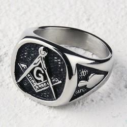 Inel Masonic Argintiu cu Negru Otel Inoxidabil MM633