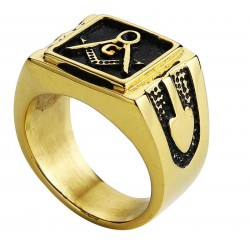Inel Masonic Otel Inoxidabil Auriu cu Negru MM634