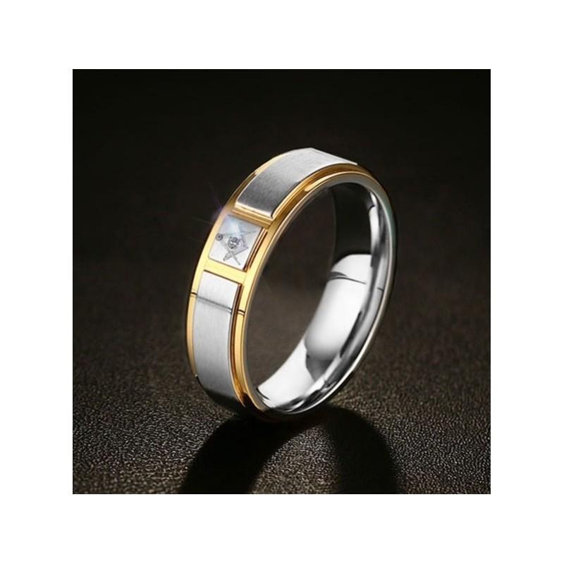 Inel Masonic Tip Verigheta Otel Inoxidabil Argintiu Cu Auriu Mm637