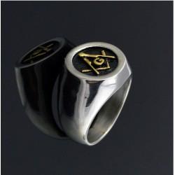 Inel mason Echer Comps cu litera G aurit