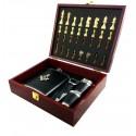 Set Cadou Cu Simboluri Masonice Caseta Sah cu Plosca si Pahare MM651