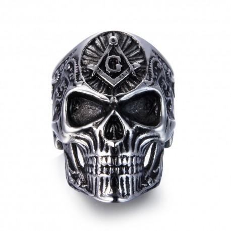 Inel craniu și simbol masonic