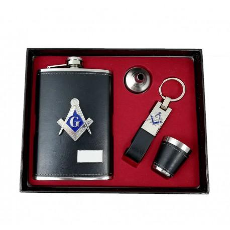 Set Cadou Plosca si Breloc cu Simboluri Masonice