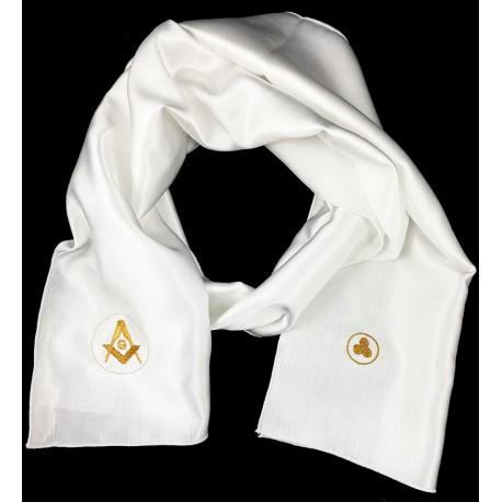Esarfa Alba Barbateasca Cu Doua Simboluri Masonice