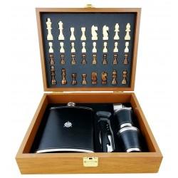 Set cadou - Șah cu ploscă mare, pahare și pâlnie și desfăcător CD-MH-20