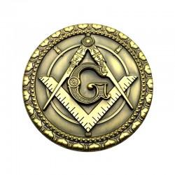Pin masonic rotund auriu echer si compas cu litera G - MM726