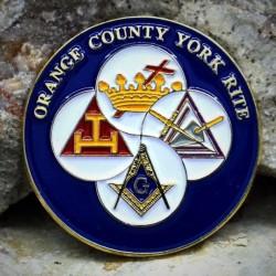 PIN rotund cu 4 simboluri masonice - Ritul York- PIN726