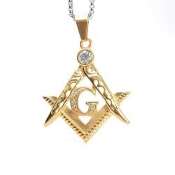 Pandantiv masonic Auriu cu zirconiu - Echer si compas cu litera G - MM733