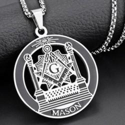 Pandantiv masonic Argintiu si Negru - Echer si Compas cu Litera G - MM735