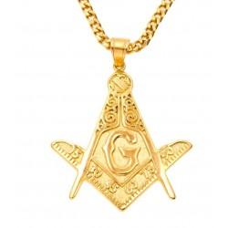 Pandantiv masonic Auriu - Echer si Compas cu Litera G - MM739