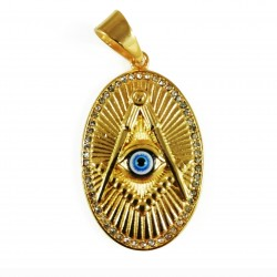 Pandantiv masonic Auriu  - Echer, Compas si Ochiul Atotvazator - MM744