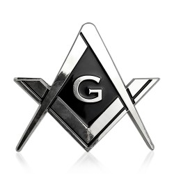 Sticker Auto cu Simboluri Masonice - Echer si Compas Argintiu