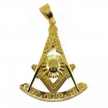 Bijuterie de Colan / Pandantiv Masonic Auriu - Echer si Compas, Soare si Arc - MM754