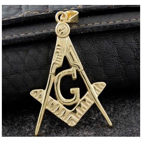 Bijuterie de Colan / Pandantiv Masonic Auriu - Echer si Compas cu Litera G - MM756