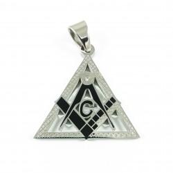 Pandantiv Masonic - Triunghi Argintiu cu Negru - MM757