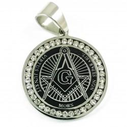 Pandantiv Masonic Argintiu cu Negru, decorat cu cristale zirconiu - MM758
