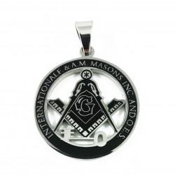 Pandantiv Masonic Argintiu cu Negru - Echer si Compas cu Litera G - MM758