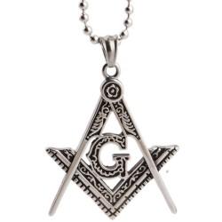 Pandantiv Masonic Argintiu - Echer si Compas cu Litera G - MM763