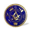 Sticker Auto Auriu pe fond Albastru - Echer si Compas cu Litera G