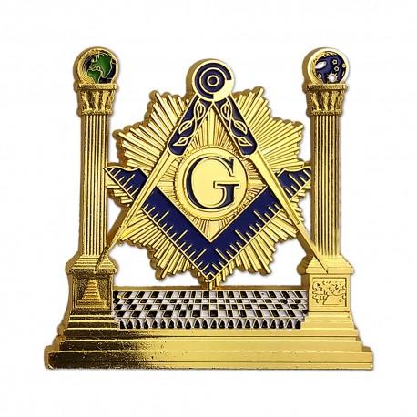 Sticker Auto Auriu - Templul cu Mozaic si Echer si Compas cu Litera G