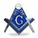 Sticker Auto Argintiu cu Albastru - Echer si Compas cu Litera G