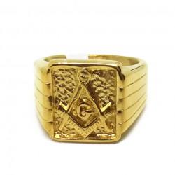 Inel Masonic Auriu - Echer si Compas cu Litera G