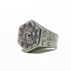 Inel Masonic Argintiu - Ochiul Atotvazator - Grad 32