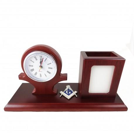 Set de birou - Ceas, Suport Stilou si Simbol Masonic